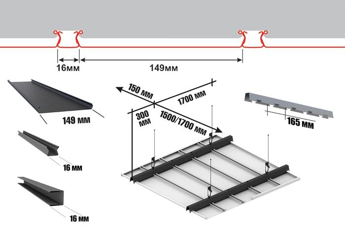 реечного потолка,